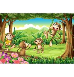 Monkeys playing vector