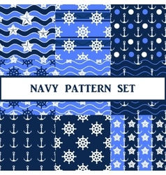 Navy seamless pattern set vector