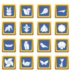 Origami icons set blue square vector