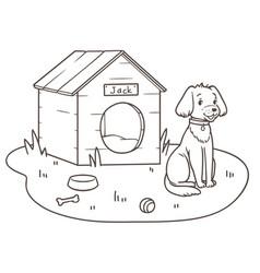 Outline drawing a friendly dog cartoon near vector