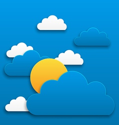 Paper sun with clouds abstract summer background vector image