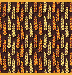 Pattern with autumn spikelets of wheat seasonal vector