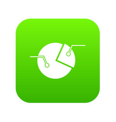 percentage diagram icon digital green vector image