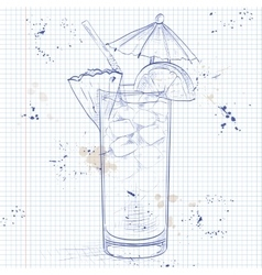 Planter punch cocktail on a notebook page vector