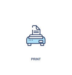 Print concept 2 colored icon simple line element vector