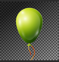 realistic green balloon with ribbon isolated vector image