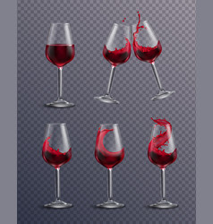Realistic wine glass set vector