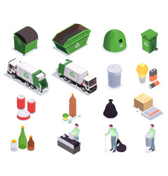 recycling waste isometric collection vector image