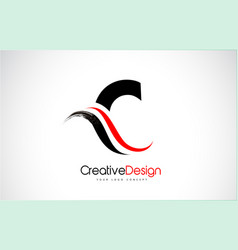 red and black c letter design brush paint stroke vector image