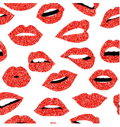 red glitter girl mouth seamless pattern background vector image