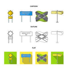 Road signs and other web icon in cartoonoutline vector