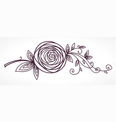 Rose stylized flower hand drawing vector