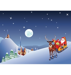 Santa riding christmas sleigh at night2 vector