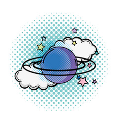 Saturn planet pop art icon vector