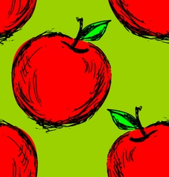 Seamless background with hand drawn apple vector image