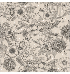 Seamless inked floral pattern vector