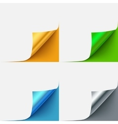 set colorful curled paper corners vector image