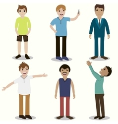 Set guys different nationality appearance vector