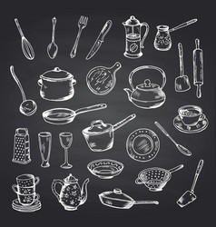 set hand drawn kitchen utensils on black vector image