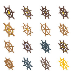 ship wheel icons set isometric style vector image