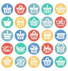 shop basket icons set on color circles white vector image
