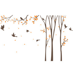 silhouette of birds with tree and birdcage vector image