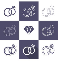 Simple decorative wedding rings icons vector