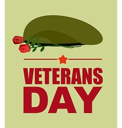 Soldiers green beret and flowers Veterans Day vector