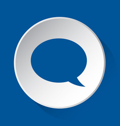 Speech bubble - simple blue icon on white button vector