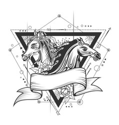 tattoo art design horse racing in line art vector image