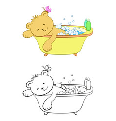 teddy bear washes in the bath vector image