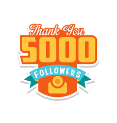 thank you 5000 followers numbers template for vector image