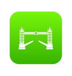 tower bridge icon digital green vector image
