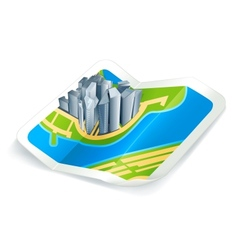 Town on map icon vector