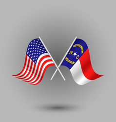 Two crossed american and flag of north carolina vector