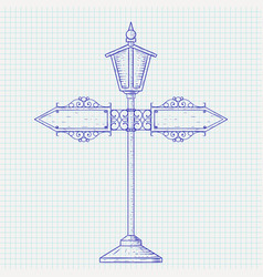 Vintage lamp post hand drawn sketch vector