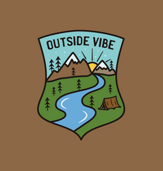 Vintage outside vibe logo adventure emblem design vector
