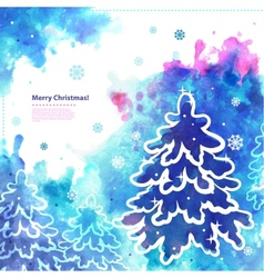 Watercolor Christmas with a pine tree vector image