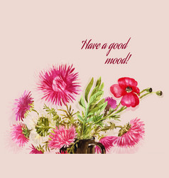watercolor pink greeting card for women with pink vector image