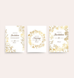 wedding invitation cards floral flyers vector image