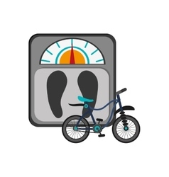 Weight scale and bike icon vector