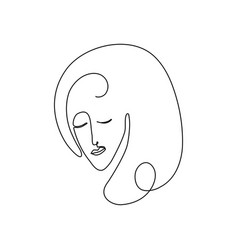 woman face drawn in black vector image