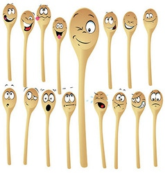 Wooden spoon cartoon vector