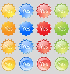 Yes sign icon Positive check symbol Big set of 16 vector