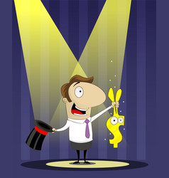 banker as magician pulls a rabbit out of hat vector image vector image