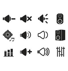 black speaker icons set vector image