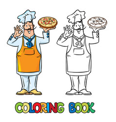 funny italian chef with pizza coloring book vector image