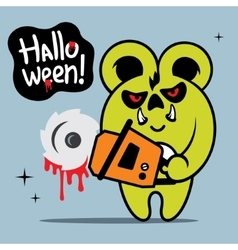 Halloween crazy bear cartoon vector