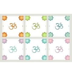 Set of frames om symbol flowers vector image