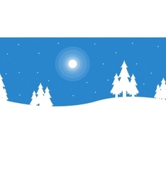 Silhouette of christmas winter scenery vector